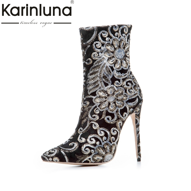 KARINLUNA Brand Design Large Size 33-43 Embroidery Pointed Toe Woman Shoes Women Sexy Thin High Heels Party Boots Fashion Lady doratasia denim eourpean style big size 33 43 pointed toe women shoes sexy thin high heel brand design lady pumps party wedding