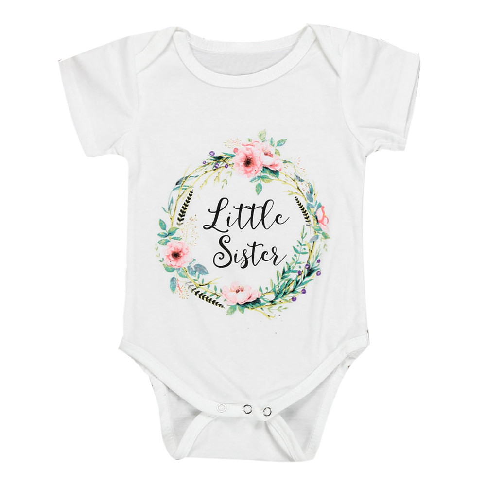 LONSANT Newborn Baby Summer Rompers Infant Baby Girl Cotton Letter Floral Romper Jumpsuit Sister Outfits Clothes