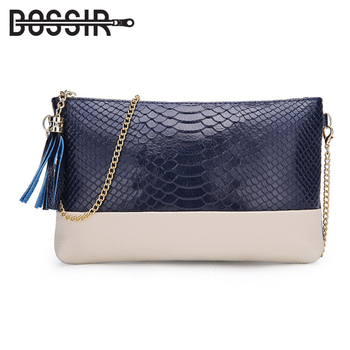 Evening Bags for Women Leather Clutch Women Leather Handbags Fashion Tassel Chain Shoulder Bags with Crocodile Pattern фото