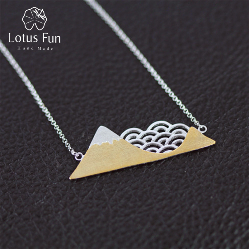 Lotus Fun Real 925 Sterling Silver Handmade Designer Fine Jewelry Poetic Cloud Mountain Necklace with Pendant for Women Collier