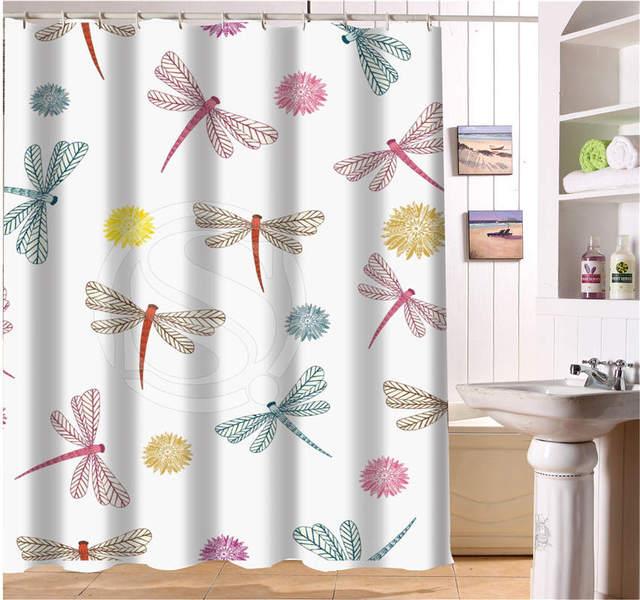 WJY425Y24 Custom Flying Dragonflies Fabric Modern Shower Curtain Bathroom Waterproof XY24