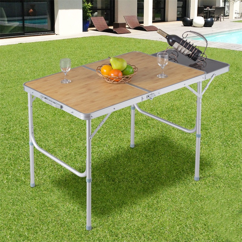 Aluminum Folding Picnic Camping Table MDF Table Top Waterproof Stretchable Desktop Outdoor Furniture Table Barbecues HW56397