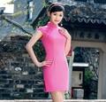 DGJRSTER 2016 China Qipao cheap cheongsam summer dress vintage women's sexy cheongsam dress qipao short dresses pink color