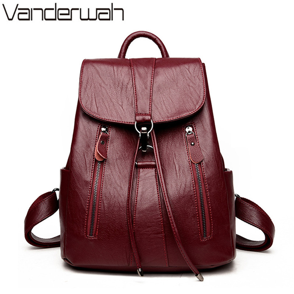 VANDERWAH 2018 Backpack Women PU Leather Backpack Famous Brands Fashion Drawstring School Bags for Girls High Quality mochilas drawstring pu backpack