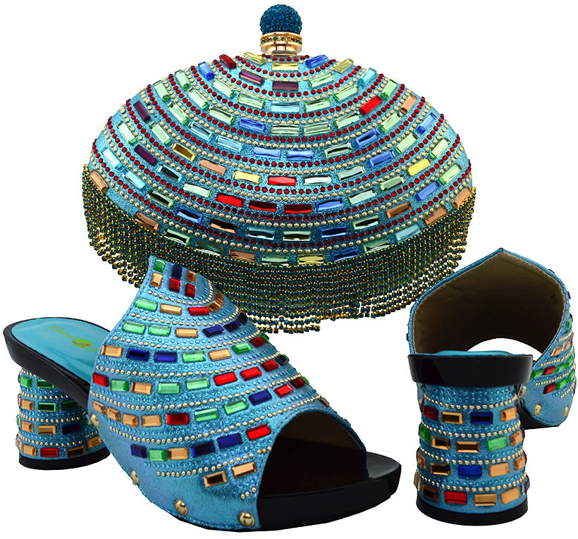 ФОТО Best Selling Fresh Color Sky Blue Round Toe PU African Shoes And Matching Bag For Party With Color Stones High Quality BCH-12