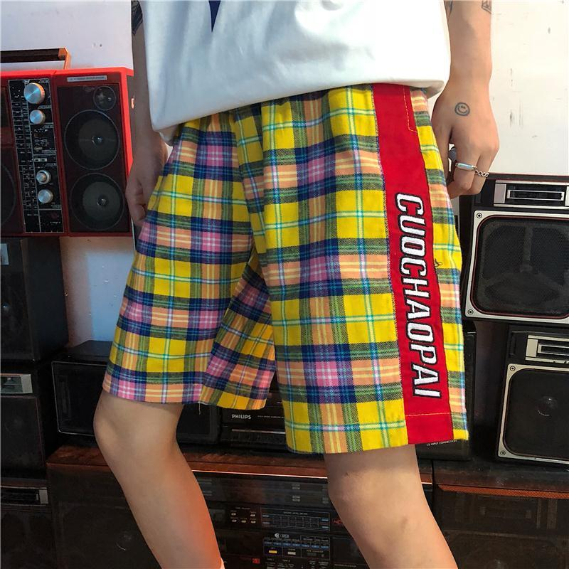 2018 Summer Korean Men Fashion Tide Lattice Hit Color Side Stripe Letter Shorts Loose El ...