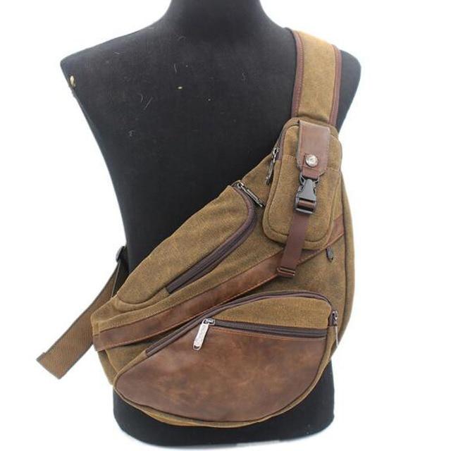 Men Canvas Sling Chest Day Back Pack Bag Travel Big Capacity Retro Cross Body Single Rucksack Shoulder Messenger Triangle Bag