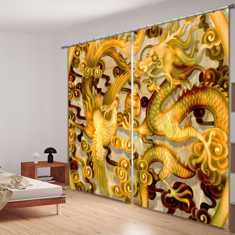 2017 Chinese Dragon Luxury 3D Blackout Curtains For Living room Bedding room Drapes Cotinas para sala Halloween Decorative