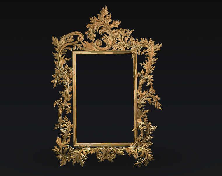 digital file frame 3d model relief for cnc carving engraving in STL file  format artcam type3 aspire E84