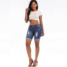 c2b22246a6cbb summer sexy short Jeans Women High Waist Skinny Pencil Denim Pants ripped  hole cropped Stretch Jeans knee length shorts women
