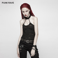 PUNK RAVE Women's Gothic Post Apocalyptic Black Chained Halter neck Top Broken Hole Chain Knit Backless Women Vest Camis