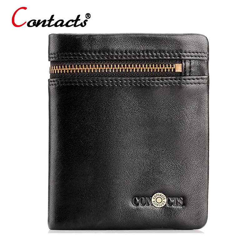 CONTACT'S Genuine Leather Wallet Men Wallets For Credit Card Holder Coin Purse Zipper Black Mini Small wallet Slim Money Walet new 2017 pink hollow leaf short wallet women wallets small purse for girls credit id card holder money coin bag christmas gifts