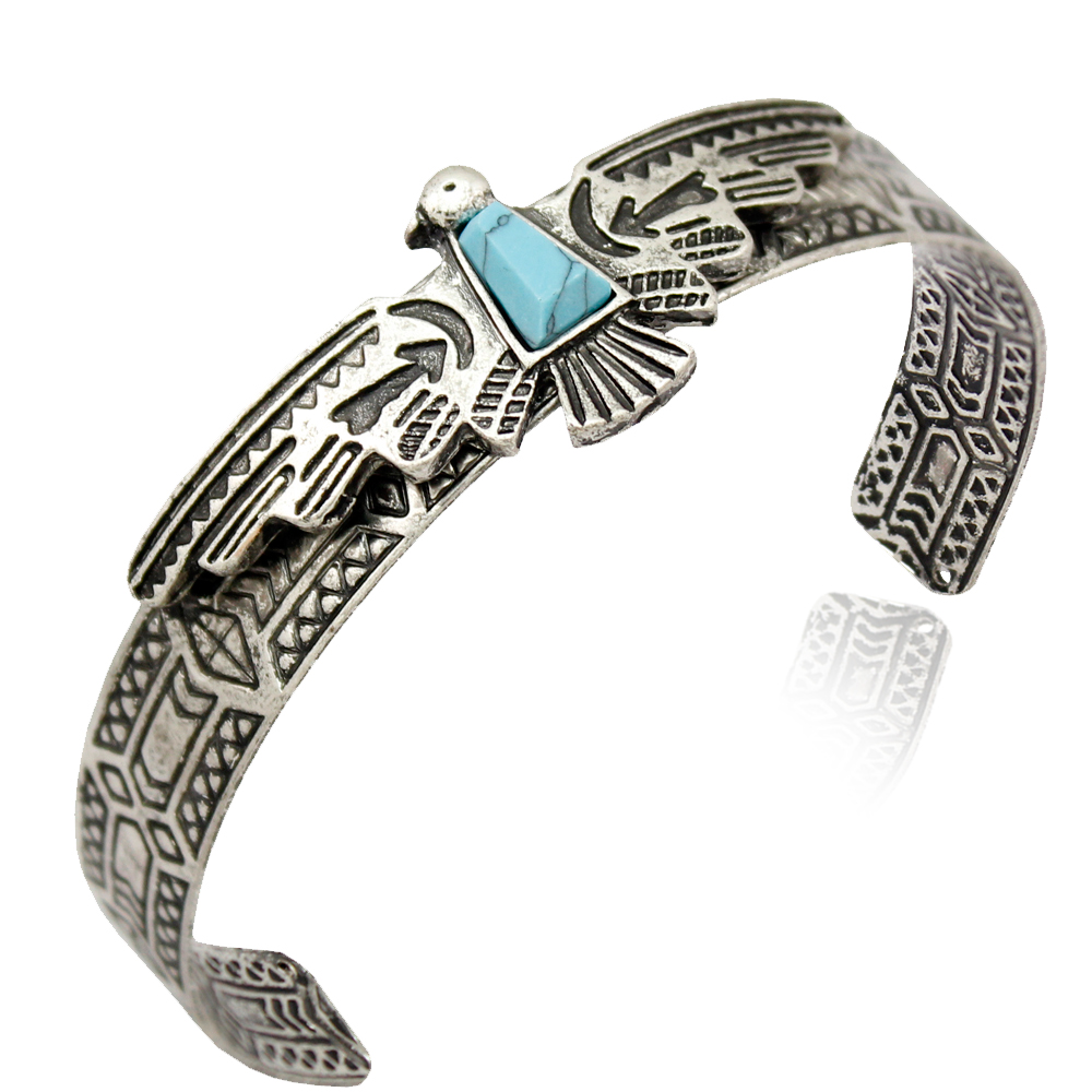 Vintage Gold Silver Plated Tribal Antique Carve Eagle bracelets for Women Bangles Pulseiras Cuff American Men Jewelry