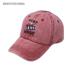 SURF WAVE Embroidery Denim Baseball Cap Women Summer Beach Sun Men Snapback Hat Vintage Washed Trucker Cotton Dad