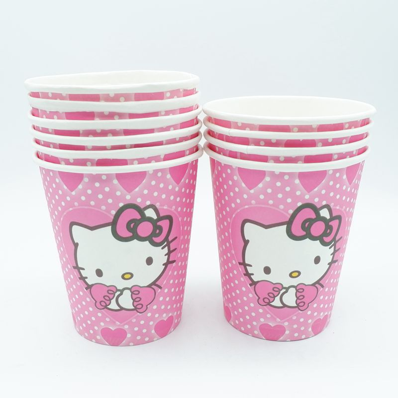 10pcslot Hello Kitty Paper Cups Disposable Tableware Wedding Birthday Decorations Baby Shower For Kids Girls Boys