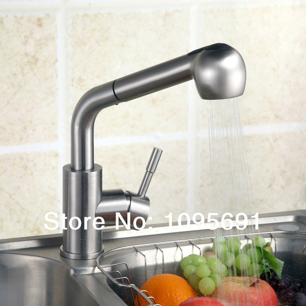 Single Lever SUS 304 Stainless Steel Pull Out Spray Kitchen Faucet