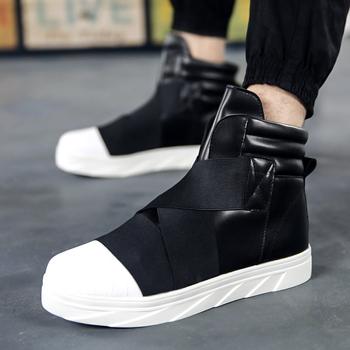 Nowi mężczyźni Flat High Top trampki moda oddychająca dorywczo Walking Street buty British hip hop buty bota zapatillas hombre tanie i dobre opinie ŻCHEKHEN Masz Kostki Buty motocyklowe Okrągły palec Tkaniny Gumowe Tkanina bawełniana Sznurowane Wiązane krzyżowe