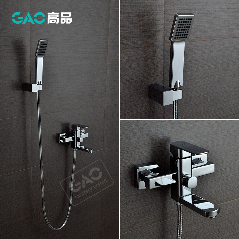 Free Shipping Wall Mounted Rotating Bathtub Faucet, Bathtub Shower Mixer, Wall Mounted Chrome Finish Shower Set, Wholesale new us free shipping simple style golden finish bathtub faucet mixer tap shower faucet w ceramics handheld shower wall mounted