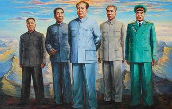 """TOP ART painting # CHINA 1949 The founding leader original print oil painting on canvas-36"""" large - free shipping cost"""