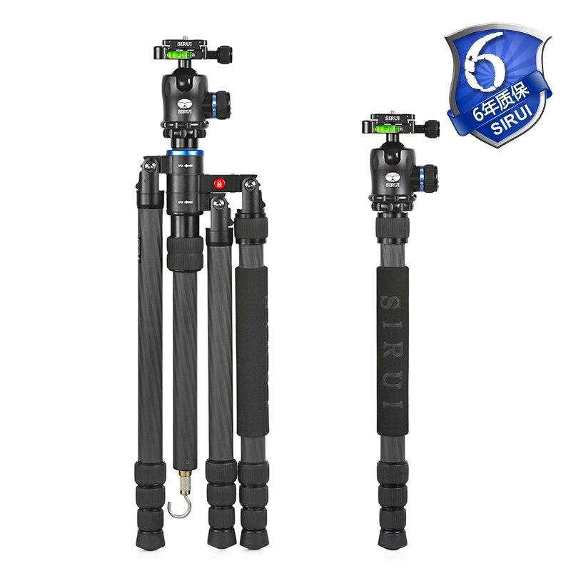 Sirui trépied de caméra de voyage en plein air + rotule + Kit de plaque de dégagement rapide en carbone Unipod pour DSLR Go Pro accessoires DHL S-2204N + K20X