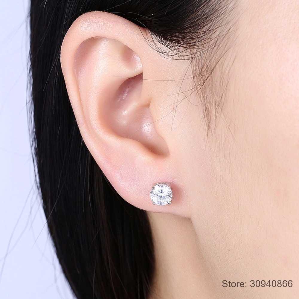 SMTCAT Princess Cut 2 Carat Solitaire Stud Earring For Men and Women Fine Jewelry 6mm Zirconia 925 Sterling Silver Earrings