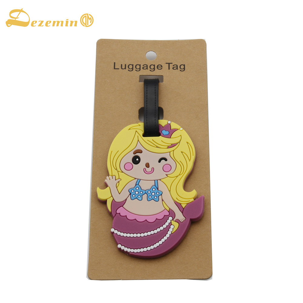 DEZEMIN Blond Hair Girl Luggage Tag Cute Suitcase Identifier Travel Accessories