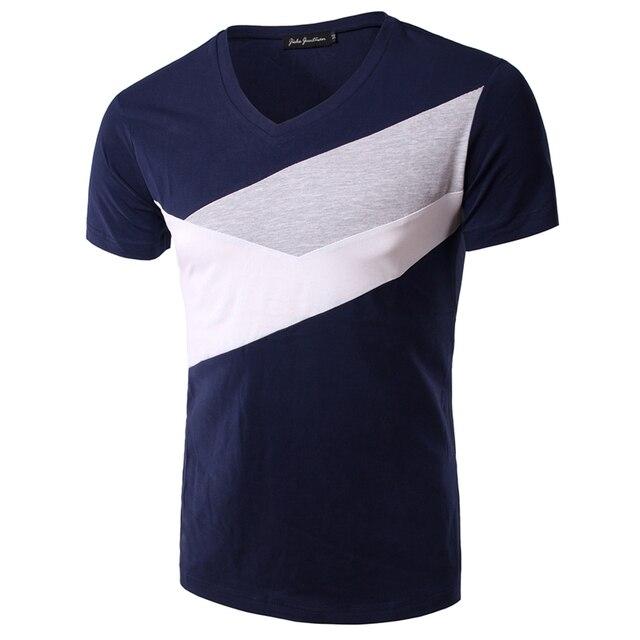 Мода 2016 Лето Мужская V-образным Вырезом Хлопок футболка С Коротким Рукавом Случайные футболка Мужчины Верхней Одежды Camisas Slim Fit Топы Тис BT35