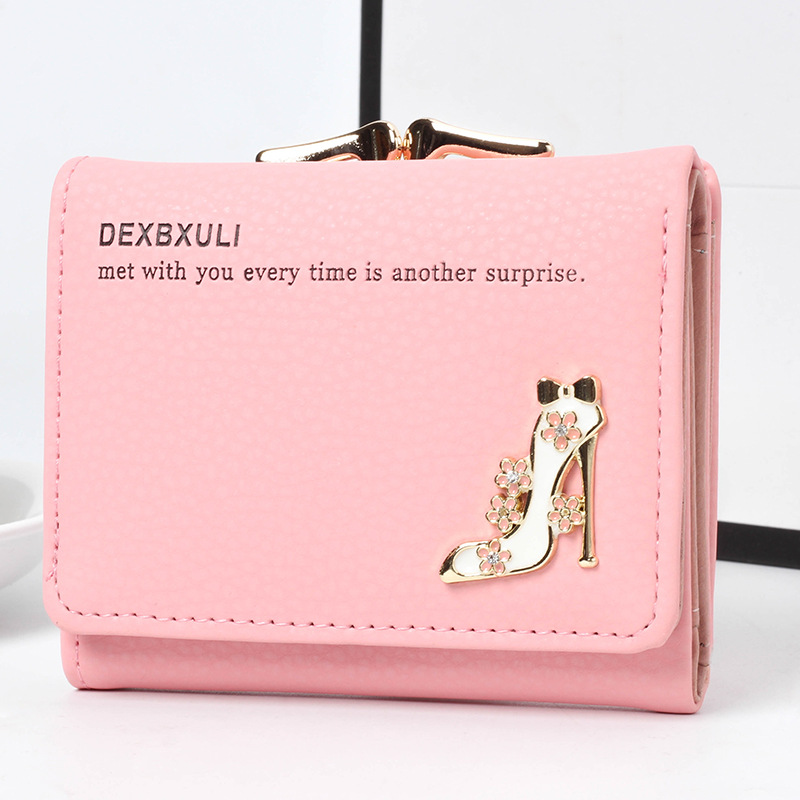 Dexbxuli Brand Lady Short Wallet Multi-card Bit 3 Fold Small Card Package Ladies Crystal Shoes Seventy Percent Off Short Wallet
