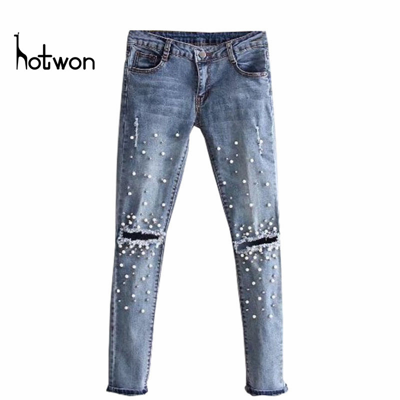 Knee Hole Ripped Jeans Women Stretch Denim Pencil Pants Casual Slim Fit Rivet Pearl Jeans Summer Long Trousers Low Waist Cowboy skinny jeans women denim pants holes destroyed knee pencil pants casual trousers white stretch ripped jeans top007 w