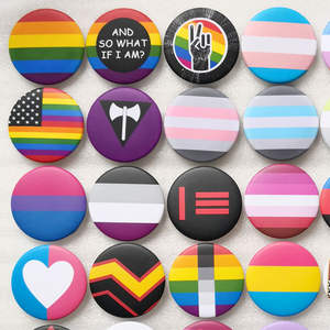 Tin Badge Pins Bisexual Rainbow Pride Transgender-Pride Love Panromantic Gay Intersex