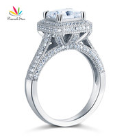 Peacock Star Solid 925 Sterling Silver Luxury Ring Wedding Engagement Created Diamante CFR8126