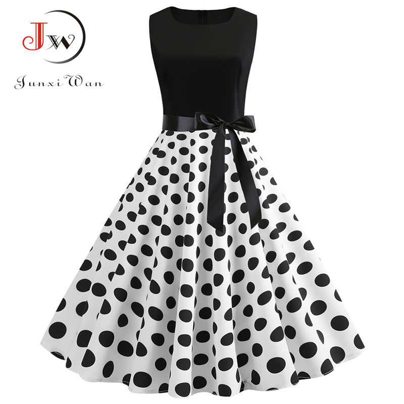 Black White Patchwork Polka Dot Summer Dress Women Vintage 50s 60s Pin Up Rockabilly Dress Plus Size Robe Party Office Dresses