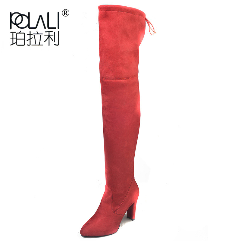 POLALI 2020 New Flock Leather Women Over The Knee Boots Lace Up Sexy High Heels Autumn Woman Shoes Winter Women Boots Size 34 43