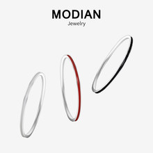 Modian New Style 100% 925 Sterling Silver Enamel Charm Simple Finger Rings 3 Color Fashion Jewelry For Women Party Silver Ring(China)