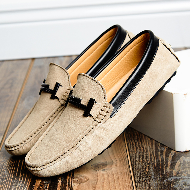 Suede     Leather   Mens Casual Loafers Luxury Brand Top Men's Casual Shoes Slip On Boat Shoes For Men Moccasins Chaussure Homme 38-44