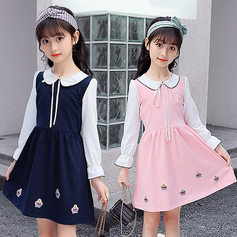 4 5 6 7 8 9 10 11 12 13 Years Old Girls Spring Autumn Dress With Crown Long Sleeve Children Clothing Casual Teenagers Baby Dress4 5 6 7 8 9 10 11 12 13 Years Old Girls Spring Autumn Dress With Crown Long Sleeve Children Clothing Casual Teenagers Baby Dress
