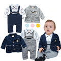 Summer Baby Clothing Sets Jumpsuit 2016 Cotton Boys Romper Half Sleeve Baby Gentleman Straps Rompers 0-2years Infant Boy Clothes