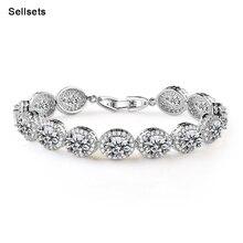 De Calidad superior Oval Exquisito Brazalete de Circón de Lujo Shinny Cubic Zirconia Diamante Pulseras Femme