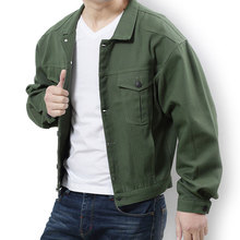Spring and Autumn Mens Large Size Jacket Korean Edition Loose Casual Denim Color Black/Army Green L-7XL