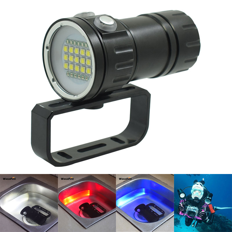 LED Diving flashlight 15x XM-L2 White + 6xRed + 6xBlue Light Scuba Photo Lamp Underwater 100m 18650 Photography Video Dive Torch 100m underwater diving flashlight led scuba flashlights light torch diver cree xm l2 use 18650 or 26650 rechargeable batteries