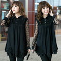 Free shipping women blouses spring 2014 New Women lace Dress Polka Dots Chiffon Vintage Blouse Long Sleeve 3XL 4XL 5XL DF-98G