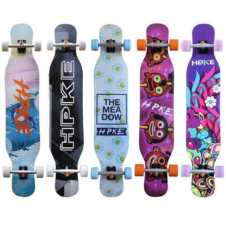 Completed Professional Dancing Longboard Skateboard Deck 117cm Freestyle Street Skate Long Board 4 Wheels
