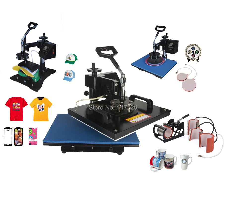 Digital Double Display Controller 8 In 1 Heat Press Machine,printer , Heat Transfer Machine For Plate/Mug/Cap/TShirt Etc wtsfwf 30 38cm 8 in 1 combo heat press printer machine 2d thermal transfer printer for cap mug plate t shirts printing