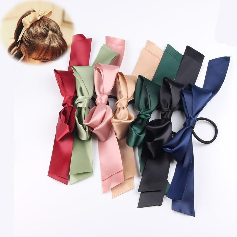 1 pcs Girls Sweet Ribbon Bowknot Hair Bands Fashion Women Big Tie Elastic Hair Bands Korean Popular   Headwear   Hair Accessories