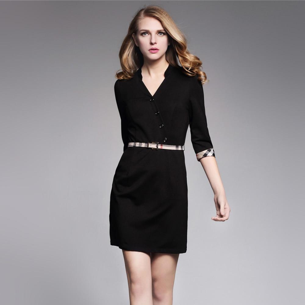⑧fashion british style women black dress v-neck slim fit office