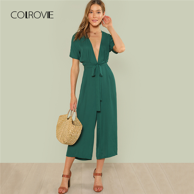 0c6fcfc5bd COLROVIE Plunge Neck Belted Culotte Jumpsuit Women Green Deep V Neck Sexy  Jumpsuit 2018 New Short