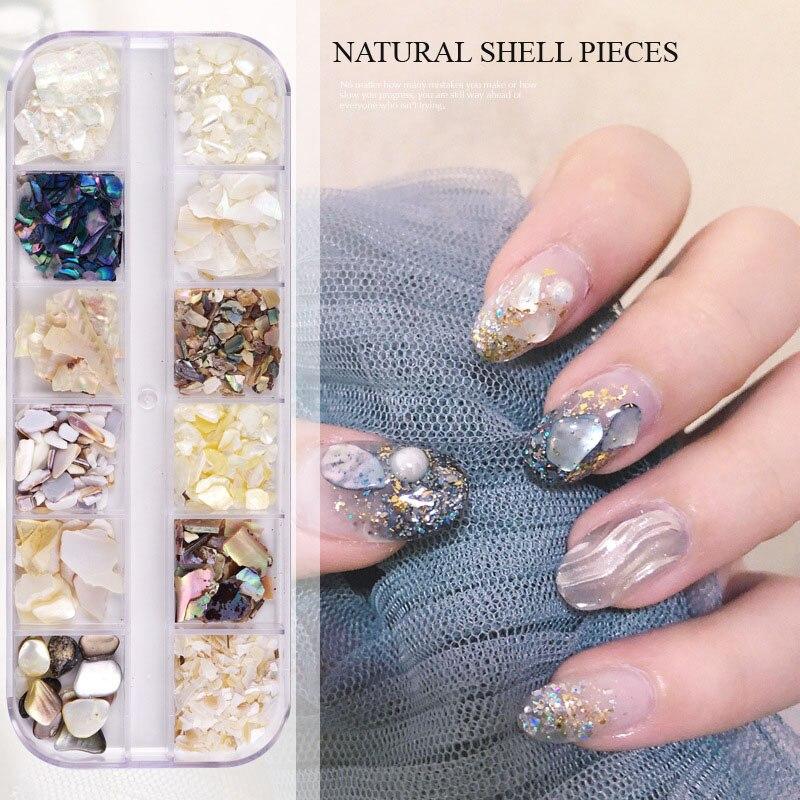 12 Styles Crushed Natural SeaShell Fragment Thick Shiny Nail Art Decoration UV Gel Tip Pearl Shell Pieces Nail Tool Sets