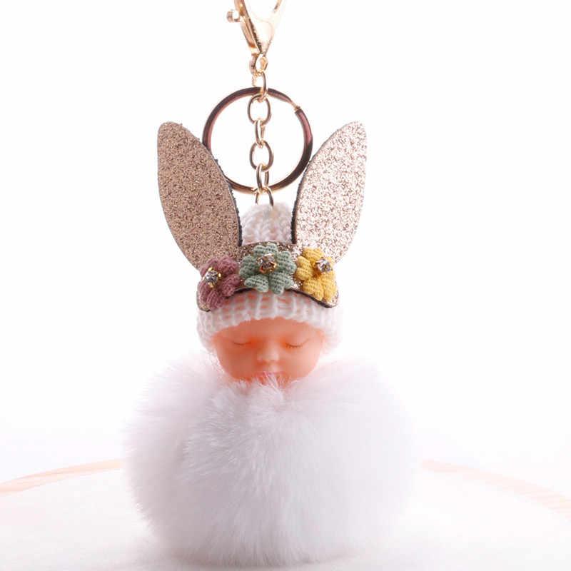 Милая Детская плюшевая кукла для сна, подарок на день рождения, куклы с кроличьими ушками, детские игрушки, меховой шар, брелок для ключей, Подарочный мешок для девочек, подвесные декоры