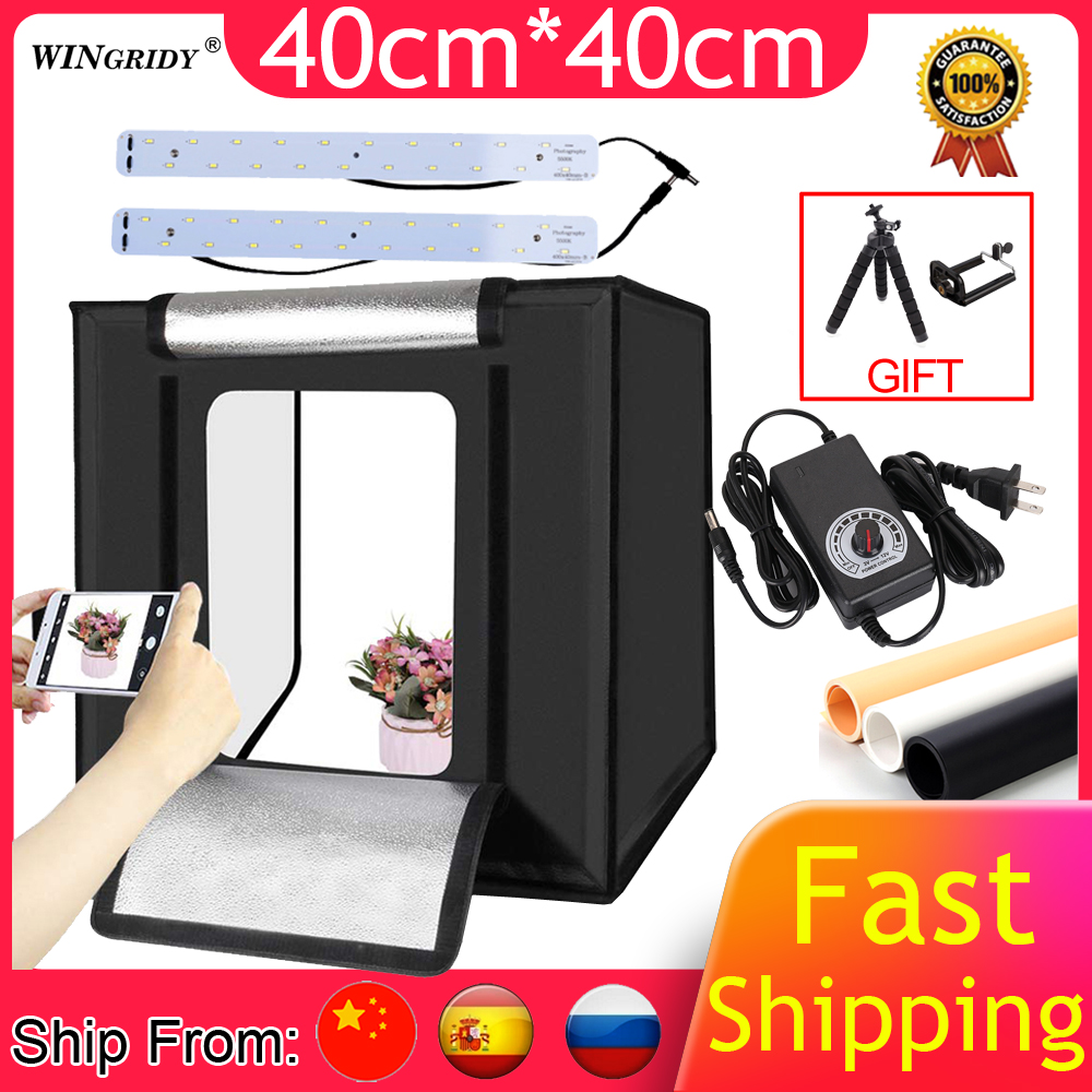 WINGRIDY W40 LED Folding Photo Studio Softbox Lightbox 40*40 Light Tent With White Yellow Black Background Accessories Box Light