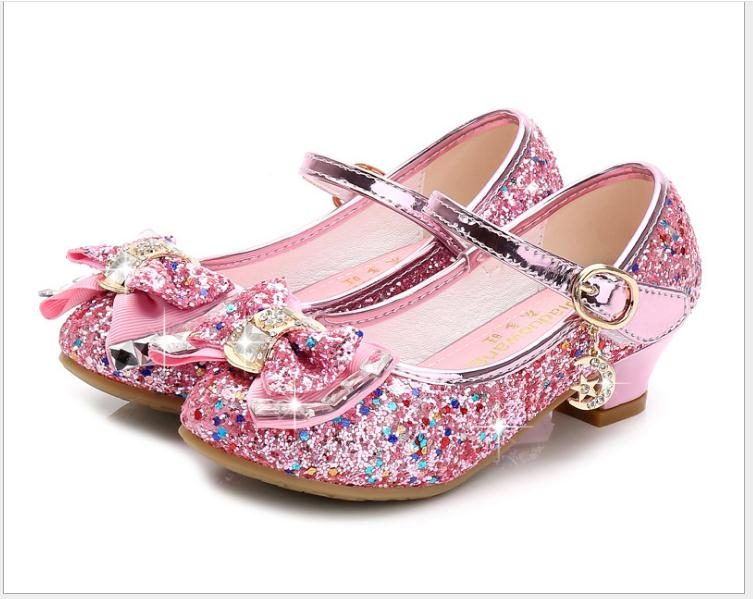 Flower Children Sandals Knot Leather Shoes Princess Girl Shoes For Kids Glitter Wedding Party Sandalia Infantil Chaussure Enfant